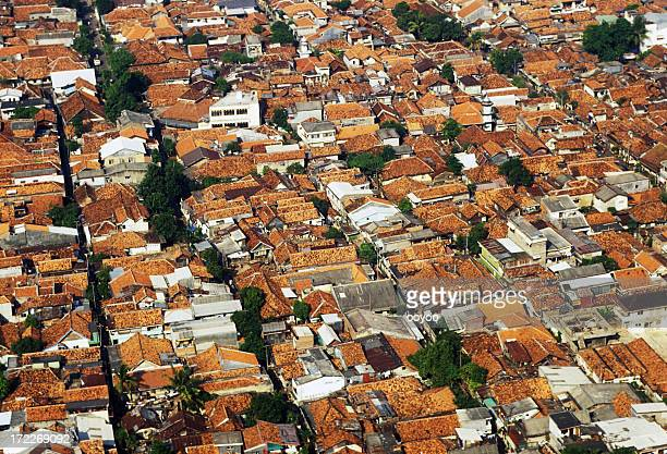 Aerial view of Indonesian residential area