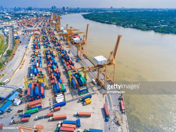 Aerial view of Industrial and Container ship logistic the harbor