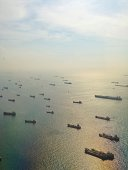 Aerial view of industrial ships