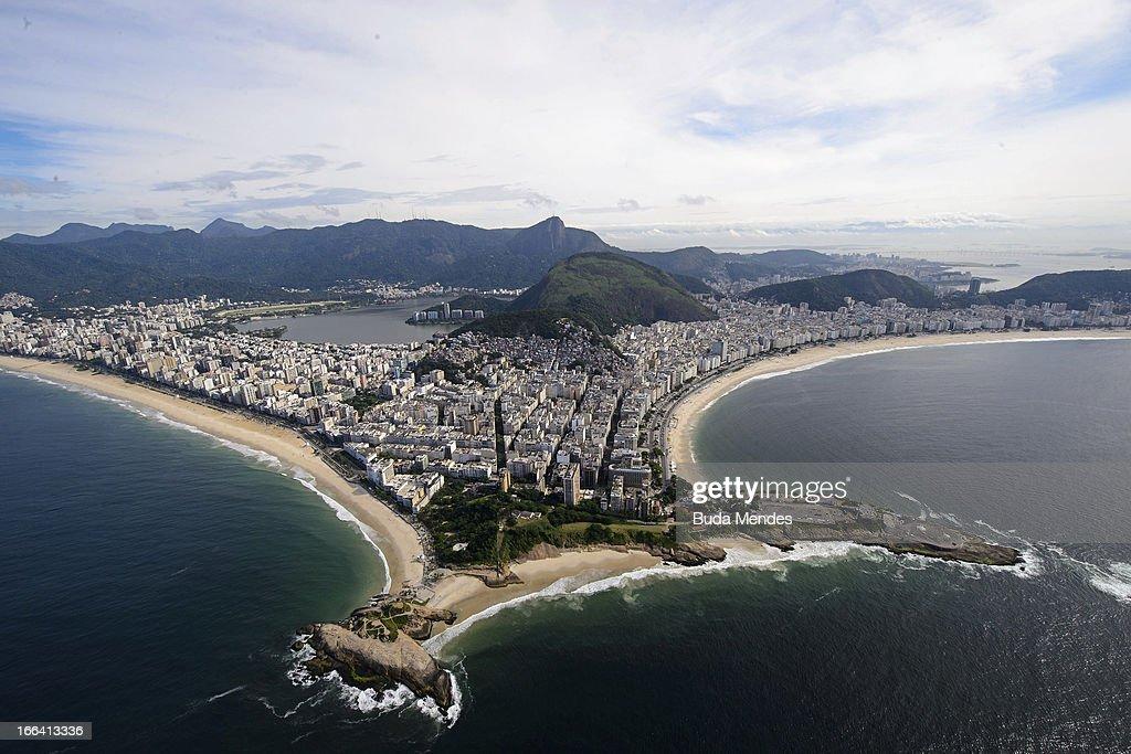 Aerial view of Ipanema and Copacabana beaches on April 11, 2013 in Rio de Janeiro, Brazil.