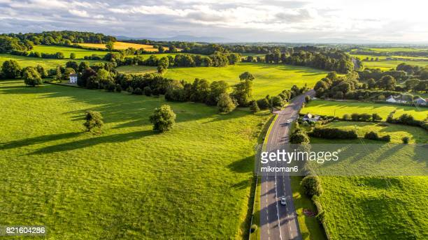 Aerial view of Irish rural scene on sunny summer day in Tipperary fields. Ireland