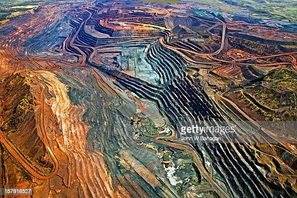Aerial view of iron ore mine, Newman, Australia