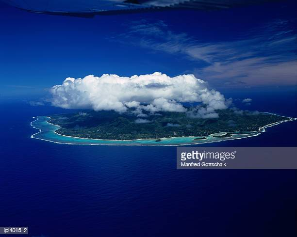 Aerial view of island and Muri Lagoon, Cook Islands