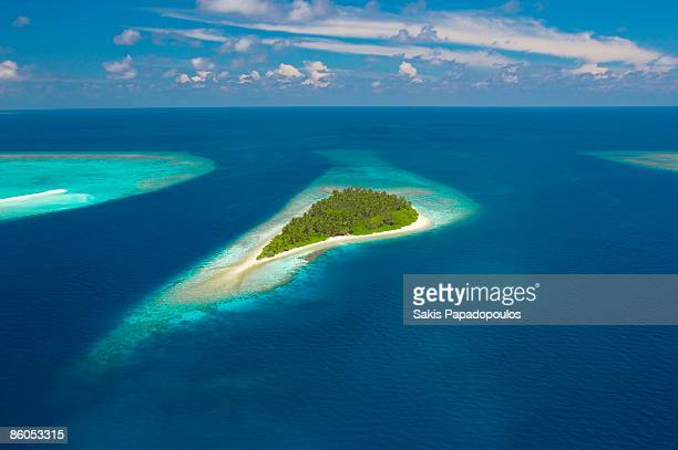 Aerial view of island, Indian Ocean, Maldives