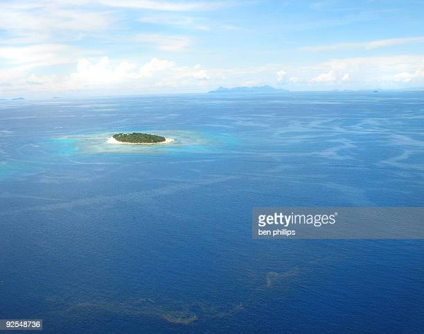 Aerial view of islands of Fiji during a sunny day