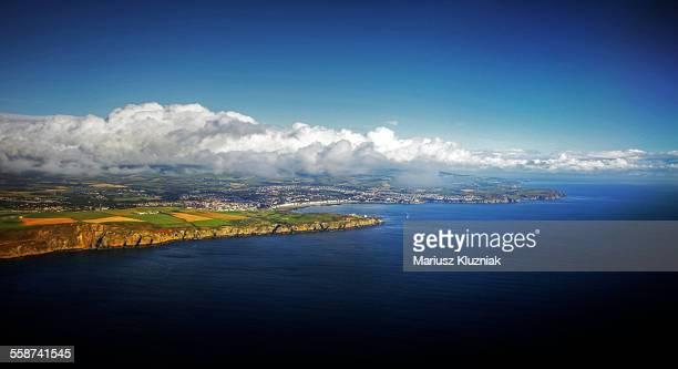 Aerial view of Isle of Man coastline and Douglas