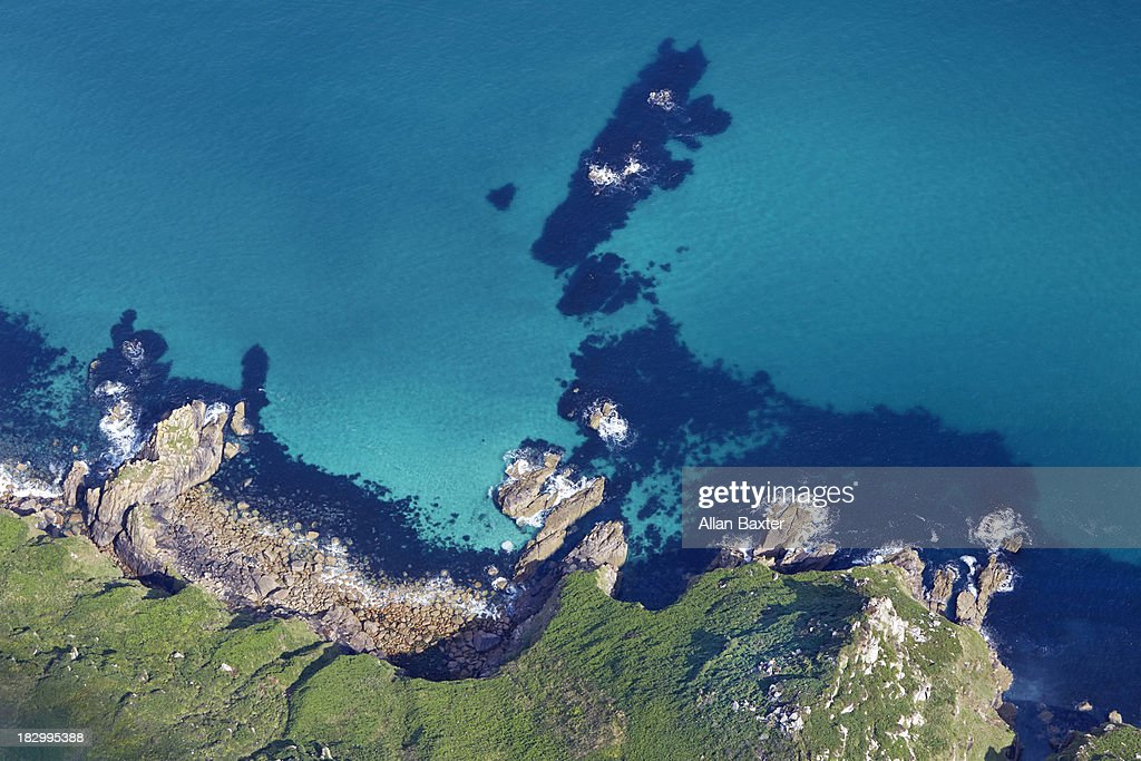 Aerial view of isolated beach in Cornwall : Stock Photo