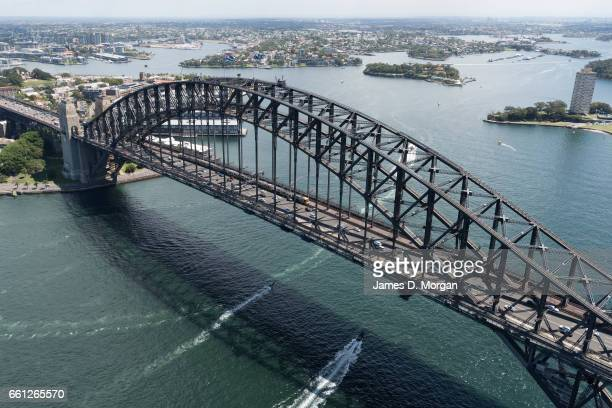 Aerial view of italian warship Carabinieri seen departing Sydney harbour on a sunny day on March 17th 17 in Sydney Australia