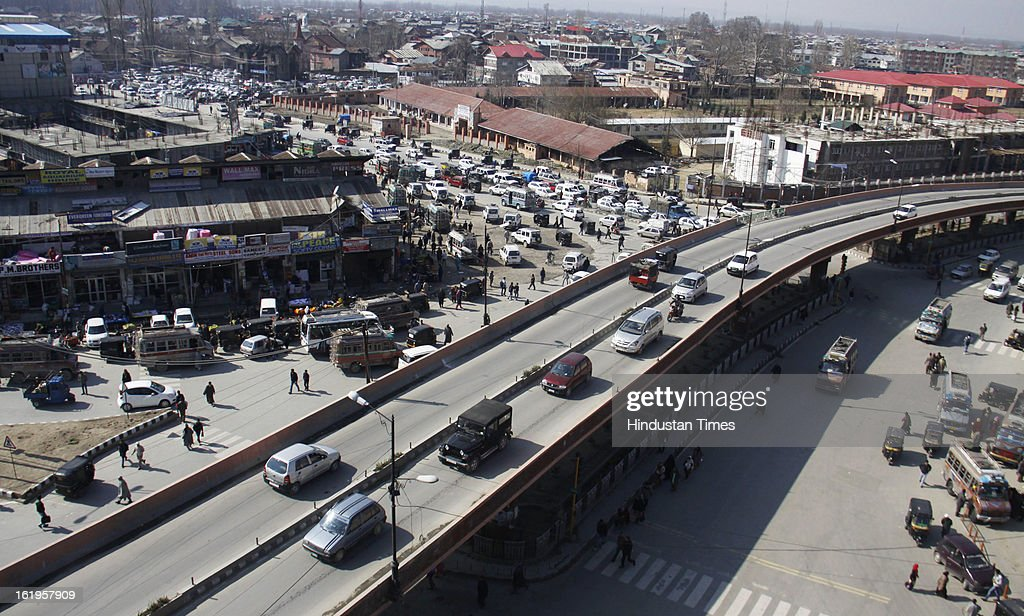 Aerial view of Jehangir Chowk market on February 18, 2013 in Srinagar, India. The market is buzz with activity as normalcy returned to valley after week long curfew and strike in aftermath of execution of Parliament attack convict Afzal Guru.