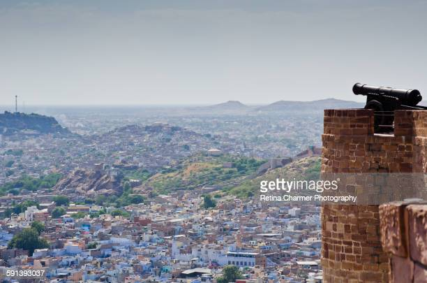 Aerial View Of Jodhpur with cannon, The Blue City