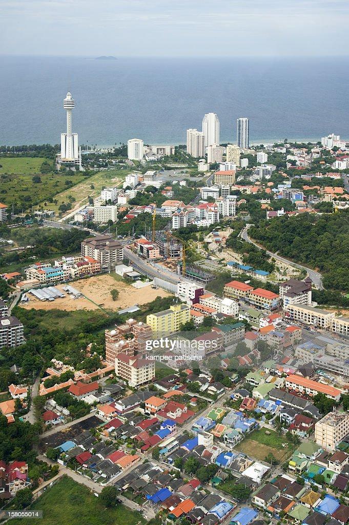 Aerial view of Jomtien beach, Pattaya, Thailand. : Stock Photo
