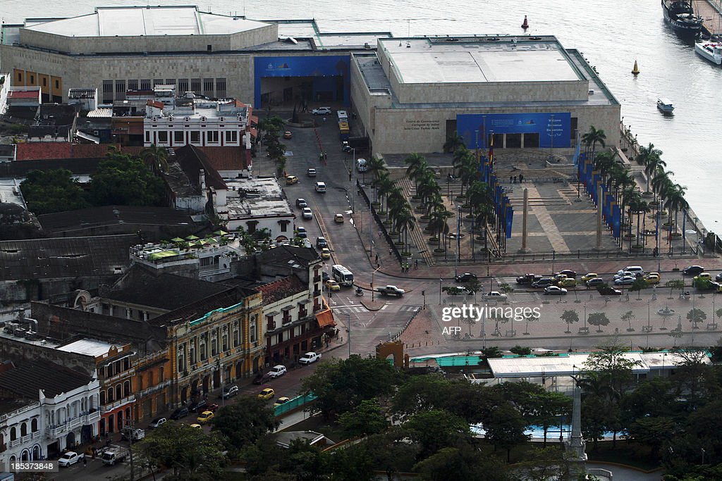 Aerial view of Julio Cersar Turbay Convention Center in Cartagena, Colombia on October 19, 2013. Cartagena will host the 82nd Interpol General Assembly between October 21 and 24. AFP PHOTO/Joaquin SARMIENTO