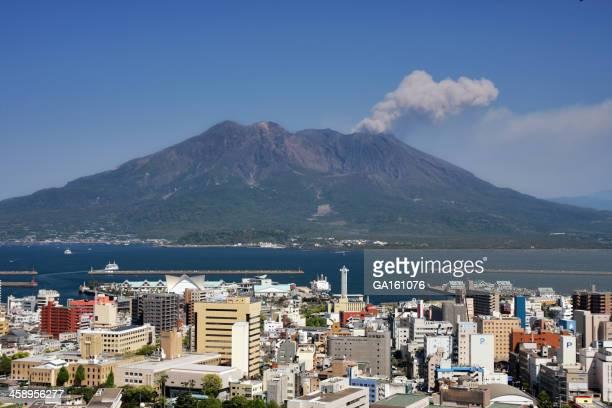 空から見た鹿児島市と Sakurajima 活火山