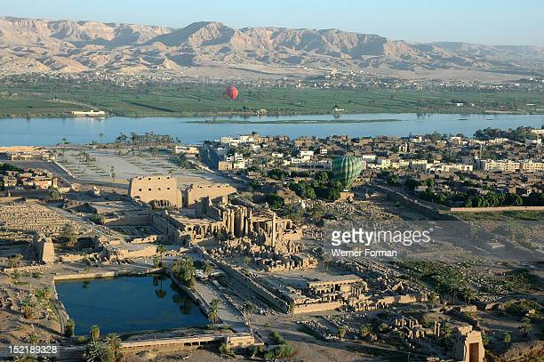 Aerial view of Karnak and the river Nile in the distance Egypt Karnak
