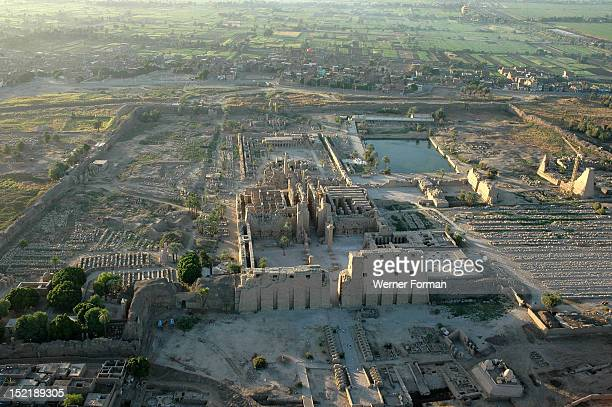 Aerial view of Karnak showing the 1st Pylon and the Great Hypostyle Hall in the foreground the sacred lake in the background and the 8th and 9th...