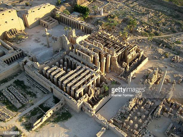 Aerial view of Karnak showing the central building complex of the Precinct of Amun Egypt Karnak