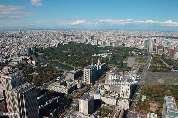 Aerial view of Kasumigaseki, Chiyoda ward, Tokyo Prefecture, Honshu, Japan