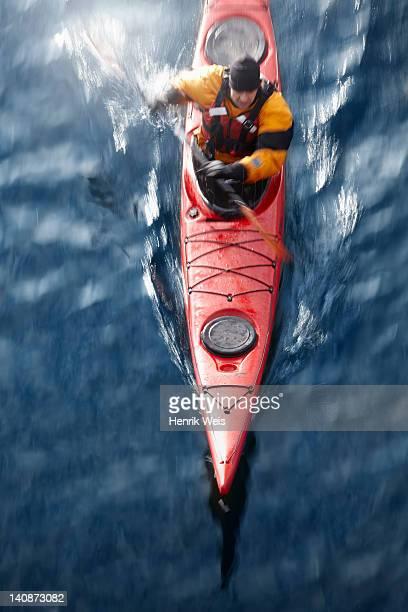 Aerial view of kayaker in water