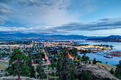 Aerial View of Kelowna, British Columbia, just after sunset on Knox Mountain, Canada.