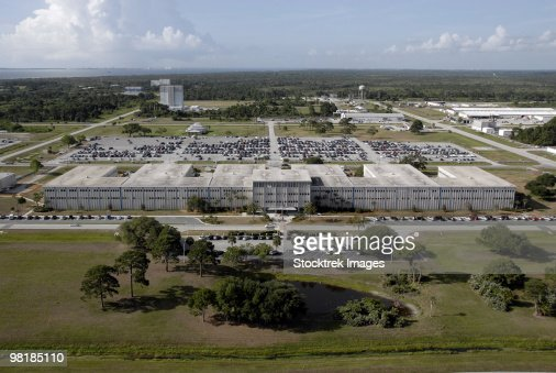 Aerial view of Kennedy Space Center.