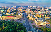 Aerial view of Khreshchatyk, European Square and Ukrainian House in the city center of Kiev, the capital of Ukraine