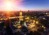 Aerial view of Kiev Pechersk Lavra, Kiev, Kyiv, Ukraine. Kyiv-Pechersk Lavra on a hill on the banks of Dnipro river.
