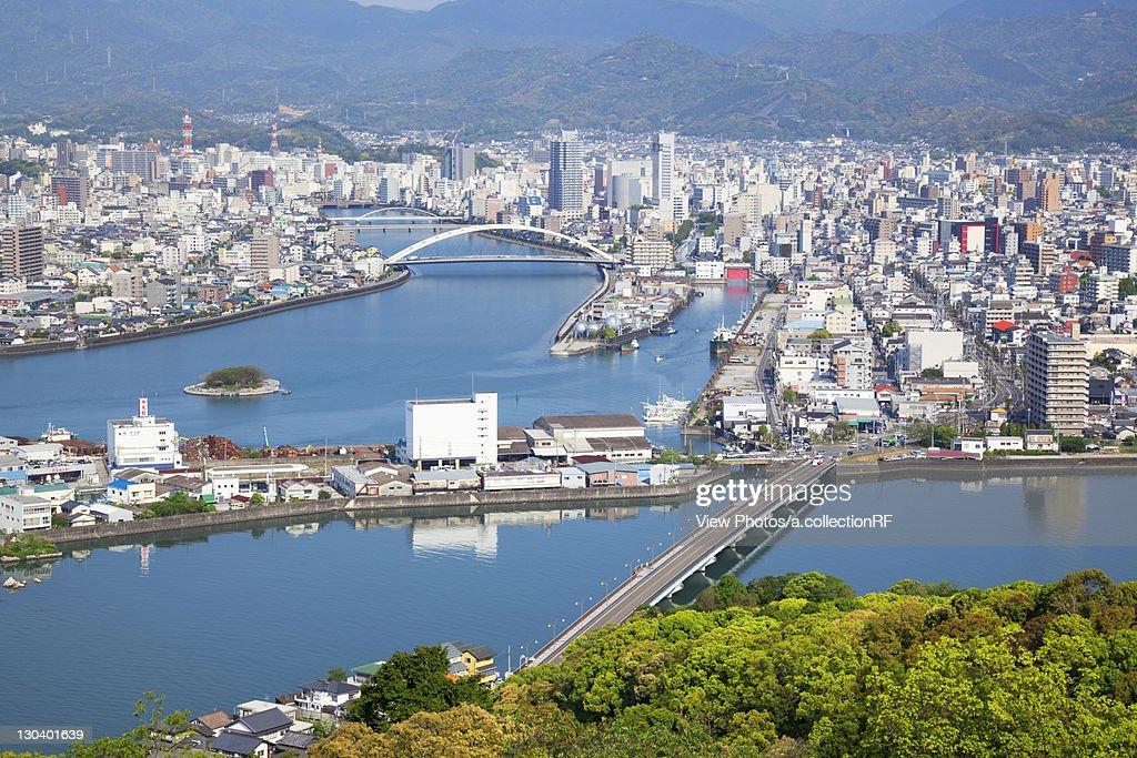 Aerial view of Kochi city, Kochi Prefecture, Shikoku, Japan
