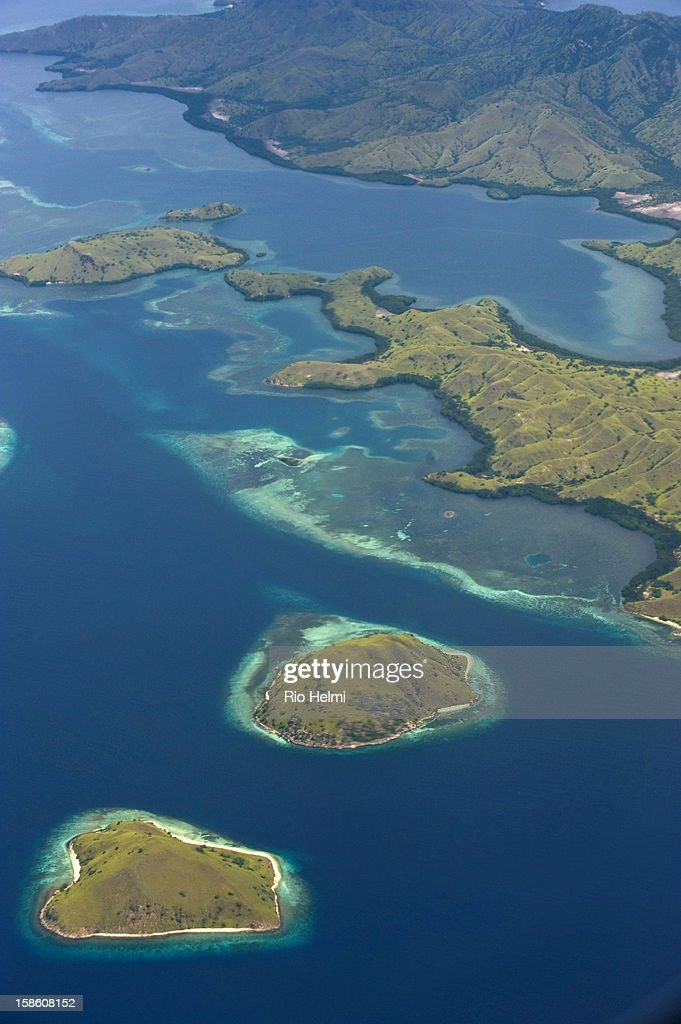 Aerial view of Komodo island in the Komodo National Park, home of the famed giant lizards..
