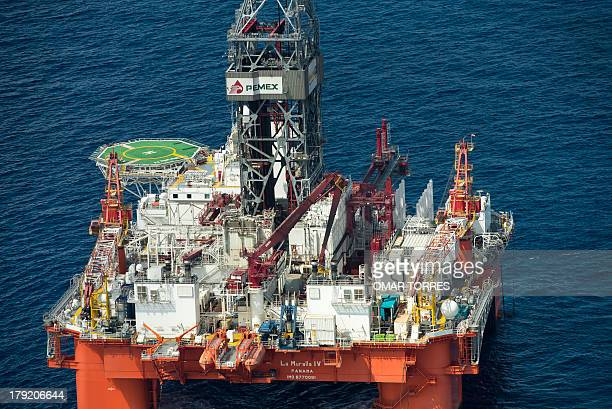 Aerial view of La Muralla IV exploration oil rig operated by Mexican company 'Grupo R' and working for Mexico's stateowned oil company PEMEX in the...