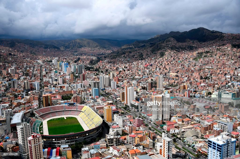 Aerial view of La Paz, Bolivia on January 7, 2017
