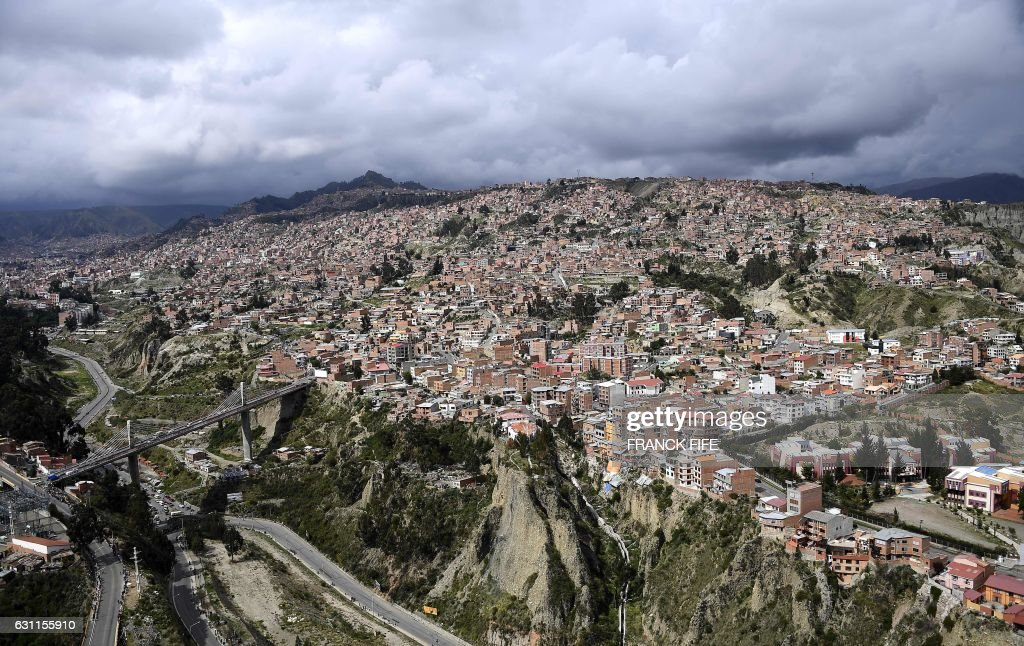 Aerial view of La Paz, Bolivia on January 7, 2017. The Dakar was trapped by heavy rains on January 7 leading to the cancellation of Stage 6. /