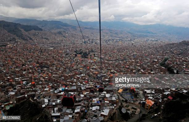 TOPSHOT Aerial view of La Paz taken from the cable car that connects La Paz with El Alto in Bolivia taken on January 8 2017 during the rest day of...