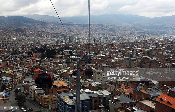 Aerial view of La Paz taken from the cable car that connects La Paz with El Alto in Bolivia taken on January 8 2017 during the rest day of the 2017...