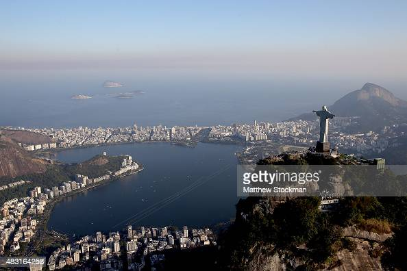 Aerial view of Lagoa Rodrigo de Freitas with with one year to go to the Rio 2016 Olympic Games on August 5 2015 in Rio de Janeiro Brazil