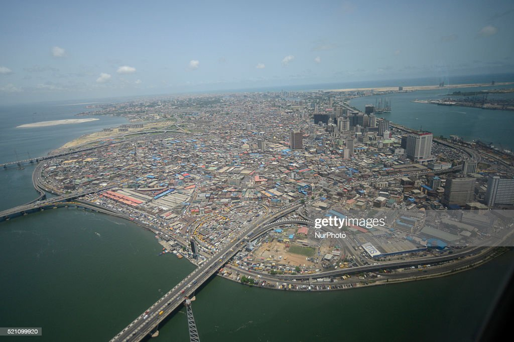 aerial view of lagos island in lagos the commercial