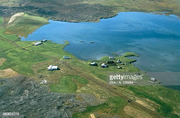 Aerial view of Lake Myvatn SudurThingeyjarsysla Iceland