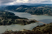 Aerial view of Lake Sonoma in Sonoma Country CA United States circa 1970s