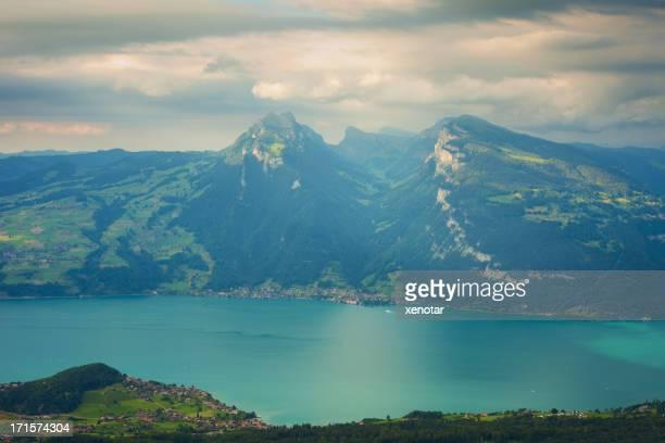 Luftbild des lake Thun