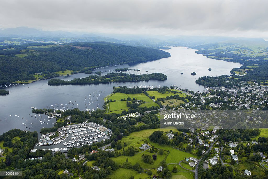 Aerial view of Lake Windermere : Stock Photo