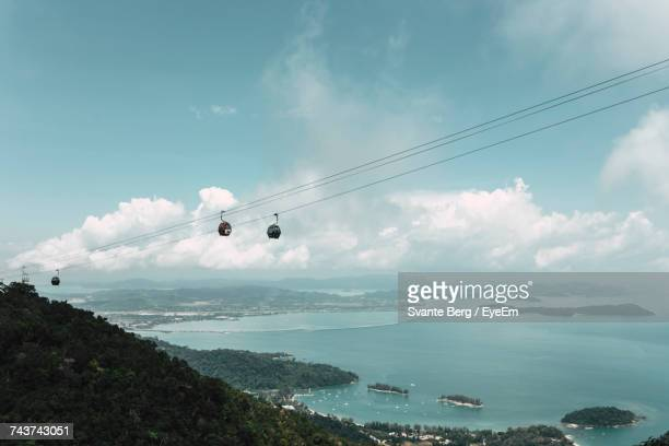 Aerial View Of Langkawi Cable Car Over Mountain Against Cloudy Sky
