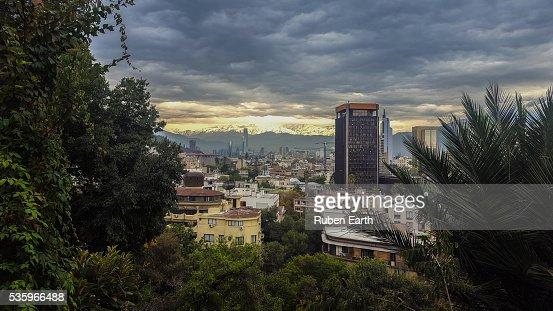 Aerial view of Las Condes area of Santiago de Chile. : Stock Photo