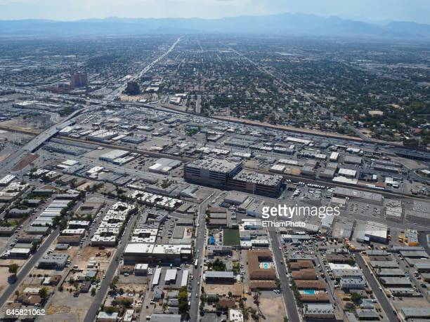 Aerial view of Las Vegas industrial area and suburbs