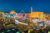 LAS VEGAS, USA - JULY 14 : World famous Vegas Strip in Las Vegas, Nevada as seen at night on July 14, 2016 in Las Vegas, USA