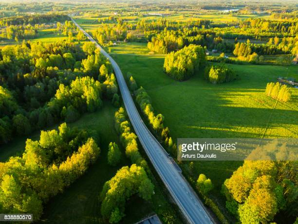Aerial view of Latvia landscape in late spring