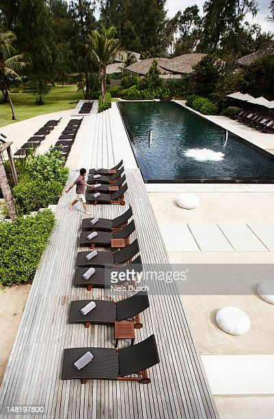 Aerial view of lawn chairs on deck