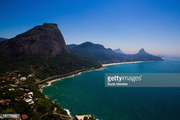Aerial view of Leblon and Sao Conrado beaches on November 12 2013 in Rio de Janeiro Brazil