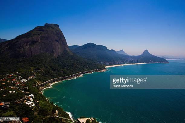 Aerial view of Leblon and Sao Conrado beaches on November 12 2013 in Rio de Janeiro Brazil