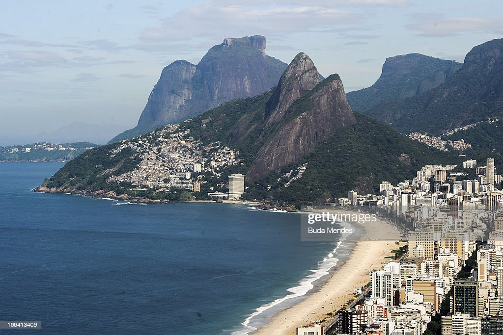 Aerial view of Leblon Beach on April 11, 2013 in Rio de Janeiro, Brazil.