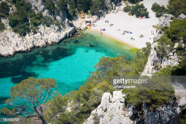 Aerial view of Les Calanques on the French Riviera