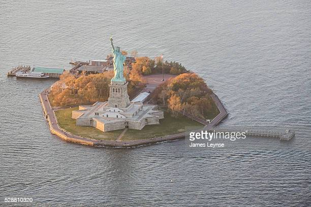 Aerial view of Liberty Island and the Statue of Liberty